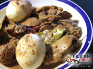 Pictue of Chicken Liver Adobo with Hard Boiled Egg