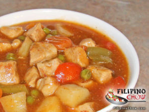 Picture of Menudo (Diced Pork with Vegetables in Tomato Sauce)