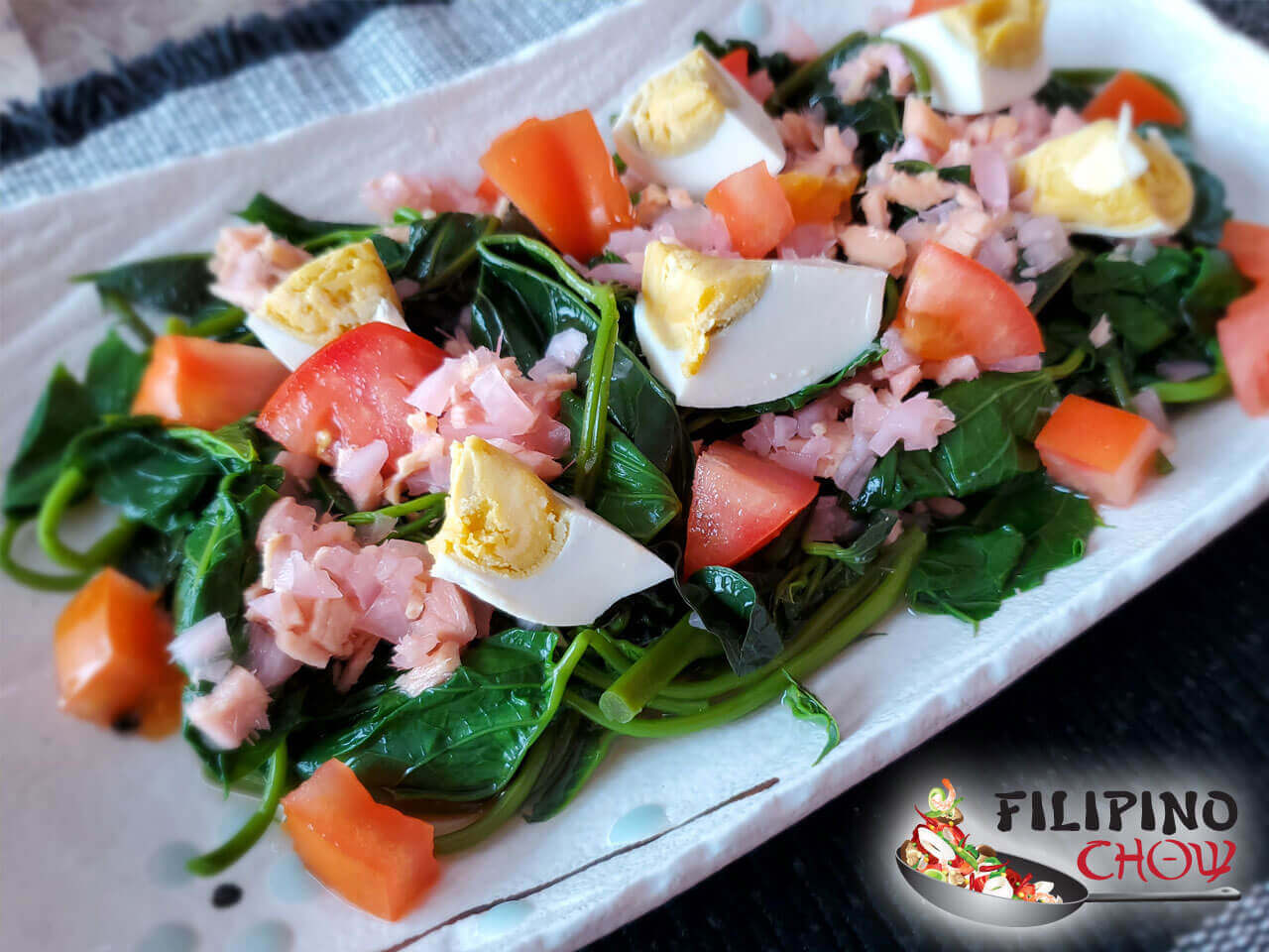 Kangkong Salad With Salted Egg Filipino Chow S Philippine Food And Asian Recipes To Learn How